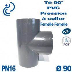 Té ( culotte ) 90° PVC Pression D90 PN16 à coller