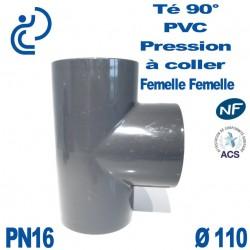Té 90° PVC Pression D110 PN16 à coller