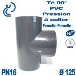 Té 90° PVC Pression D125 PN16 à coller