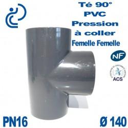 Té 90° PVC Pression D140 PN16 à coller