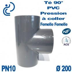 Té 90° PVC Pression D200 PN10 à coller