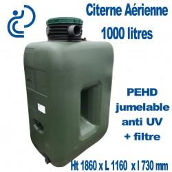Citerne de Stockage d'eau Aérienne 1000 litres Jumelable avec filtre traitée Anti UV