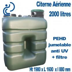 Citerne de Stockage d'eau Aérienne 2000 litres Jumelable avec filtre traitée Anti UV