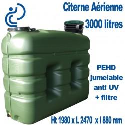 Citerne de Stockage d'eau Aérienne 3000 litres Jumelable avec filtre traitée Anti UV
