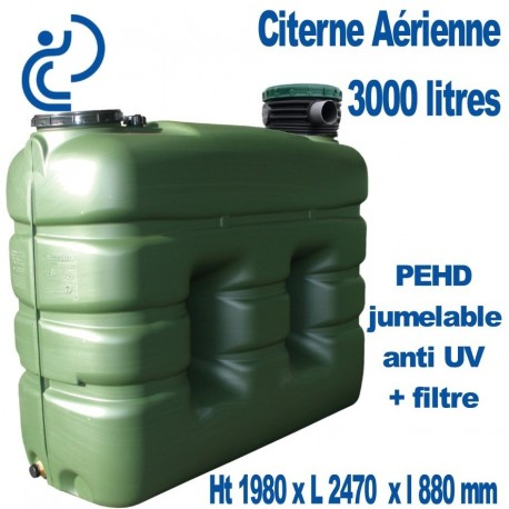 citerne de stockage eau a rienne 3000 litres jumelable filtre anti uv. Black Bedroom Furniture Sets. Home Design Ideas