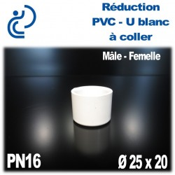 Réduction MF Pression en PVC-U blanc à coller PN16 D25x20