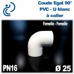 Coude Egal 90° Pression en PVC-U blanc à coller PN16 D25