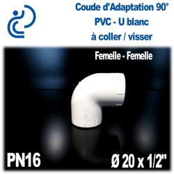 "Coude d'Adaptation 90° Pression en PVC-U blanc PN16 D20x1/2"""
