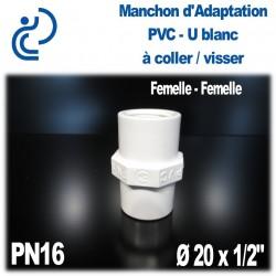 """Manchon d'Adaptation Pression en PVC-U blanc PN16 D20x1/2"""""""