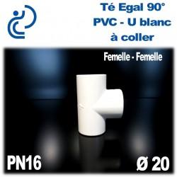 Té Egal 90° Pression en PVC-U blanc à coller PN16 D20