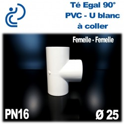 Té Egal 90° Pression en PVC-U blanc à coller PN16 D25