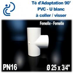 """Té 90° d'Adaptation Pression en PVC-U blanc PN16 D25x3/4"""""""