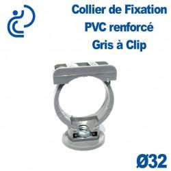 Collier de Fixation gris à Clip PVC D32