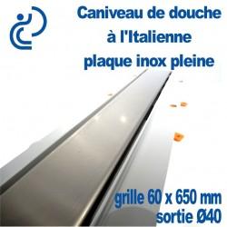 Caniveau de douche à l'italienne PVC Plaque Inox Pleine 60x650mm