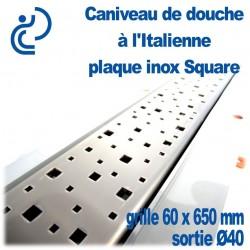 Caniveau de douche à l'italienne PVC Plaque Inox décors Square 60x650mm