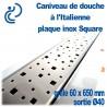 Caniveau de douche à l'italienne PVC Plaque Inox Square 60x650mm