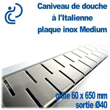 Caniveau de douche à l'italienne PVC Plaque Inox décors Médium 60x650mm