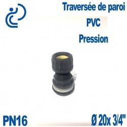 """Traversée de Paroi PVC pression D20 x 3/4"""""""