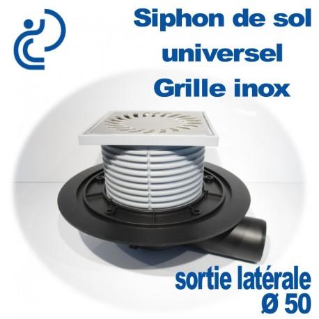Siphon Avaloir de Sol Universel avec grille Inox sortie D50
