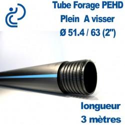 """Tube Forage PEHD 51.4x63 (2"""") plein en longueur de 1ml"""