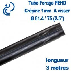 """Tube Forage PEHD 61.4x75 (2.5"""") Crépiné 1mm longueur de 3ml"""