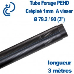 """Tube Forage PEHD 79.2x90 (3"""") Crépiné 1mm longueur de 3ml"""