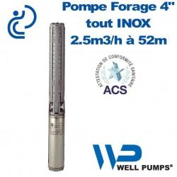 "Pompe Forage 4"" WPS inox 2.5m3/h à 52m"