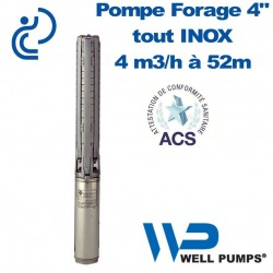 "Pompe Forage 4"" WPS inox 4m3/h à 52m"