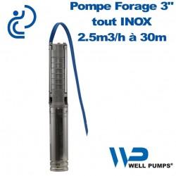 "Pompe Forage 3"" WPS inox 2.5m3/h à 30m"