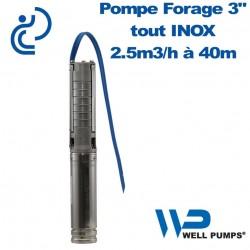 "Pompe Forage 3"" WPS inox 2.5m3/h à 40m"
