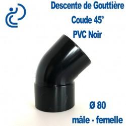 COUDE GOUTTIERE PVC NOIR 45° MF D80