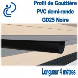 GOUTTIERE PVC DEMI RONDE GD25 NOIRE en longueur de 4ml