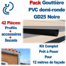 PACK GD25 NOIRE POUR 12M DE FACADE (kit complet prêt à poser)