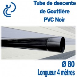 TUBE DESCENTE GOUTTIERE PVC D80 NOIR longueur de 4ml