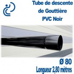 TUBE DESCENTE GOUTTIERE PVC D80 NOIR longueur de 2.8ml