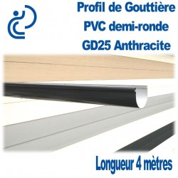 GOUTTIERE PVC DEMI RONDE GD25 ANTHRACITE