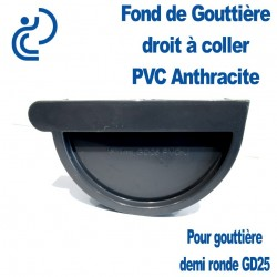 FOND DE GOUTTIERE DROIT EN PVC ANTHRACITE POUR GD25