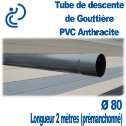TUBE DESCENTE GOUTTIERE PVC D80 ANTHRACITE EN 2ml