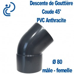 COUDE GOUTTIERE PVC ANTHRACITE 45° MF D80