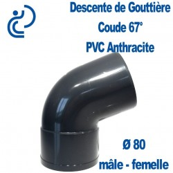COUDE GOUTTIERE PVC ANTHRACITE 67° MF D80