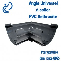 ANGLE UNIVERSEL PVC ANTHRACITE POUR GOUTTIERE GD25 A COLLER