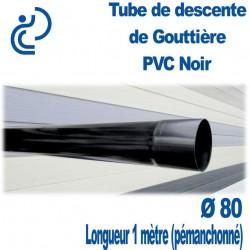 TUBE DESCENTE GOUTTIERE PVC D80 NOIR longueur de 1ml (prémanchonné)