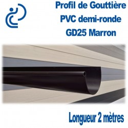 GOUTTIERE PVC DEMI RONDE GD25 MARRON en longueur de 2ml