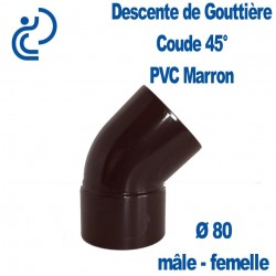 COUDE GOUTTIERE PVC MARRON 45° MF D80