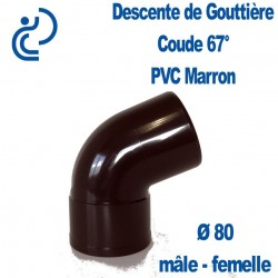 COUDE GOUTTIERE PVC MARRON 67° MF D80
