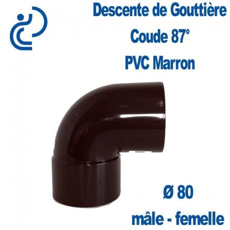 COUDE GOUTTIERE PVC MARRON 87°