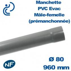 Manchette D80 960mm PVC EVAC NF mâle femelle (prémanchonnée)
