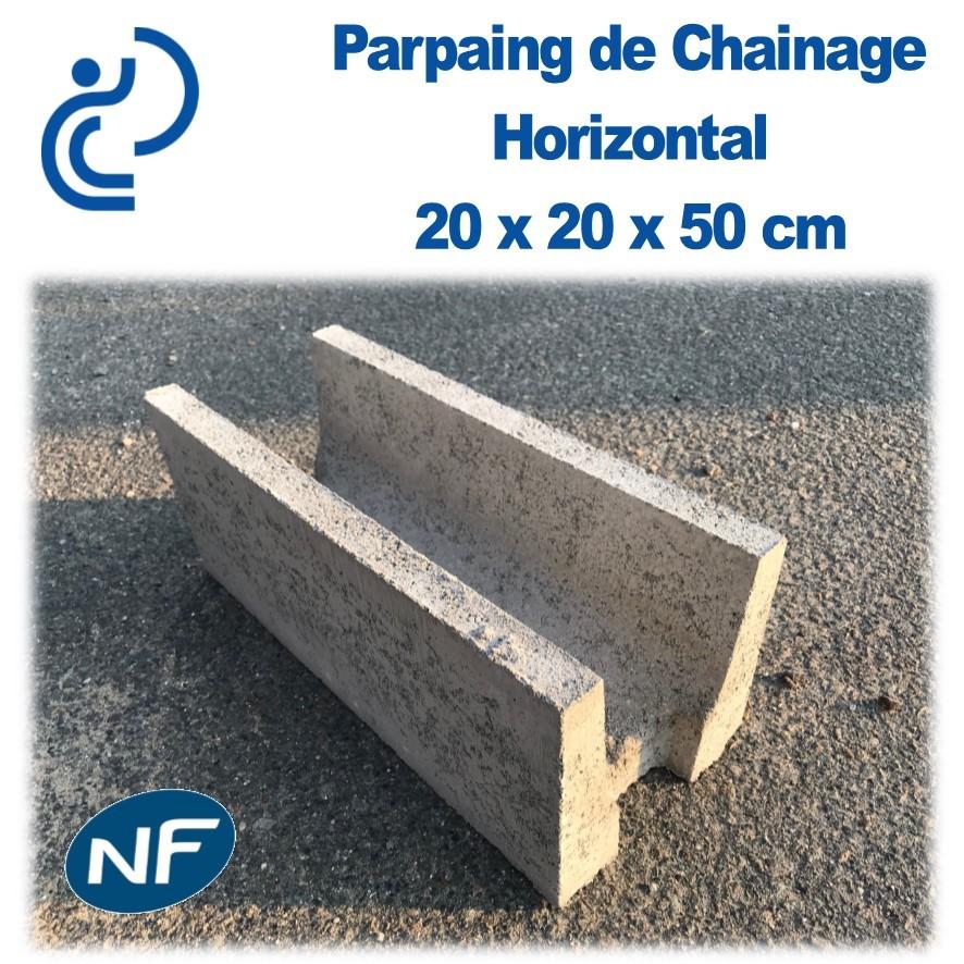 Parpaing De Chainage Horizontal 20 X 20 X 50 Cm Nf Qualite Pro