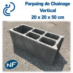 Parpaing de Chaînage Vertical 20 x 20 x 50 cm NF Qualité Pro