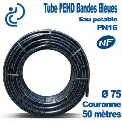 TUBE PEHD Bandes Bleues D75 NF PN16 Couronnes 50ml